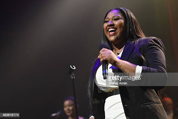Jazmine Sullivan performs during the Amateur Night 2015 Season Opener at The Apollo Theater on February 18 2015 in New York City