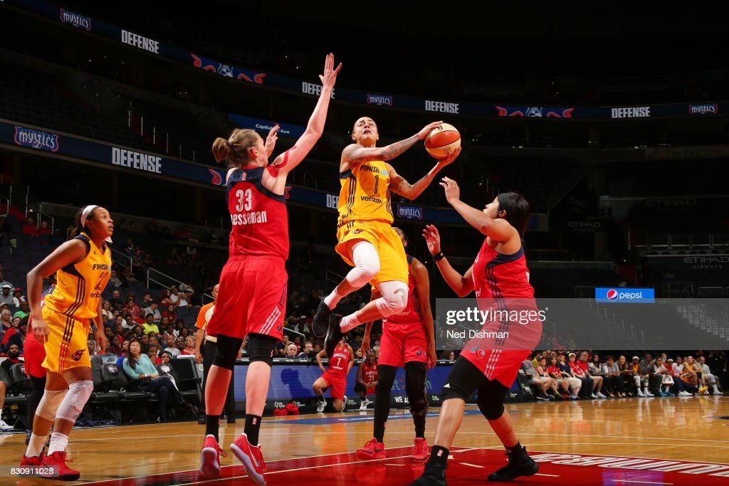 Jazmon Gwathmey #1 of the Indiana Fever goes for a lay up against the Washington Mystics on August 12, 2017 at the Verizon Center in Washington, DC.