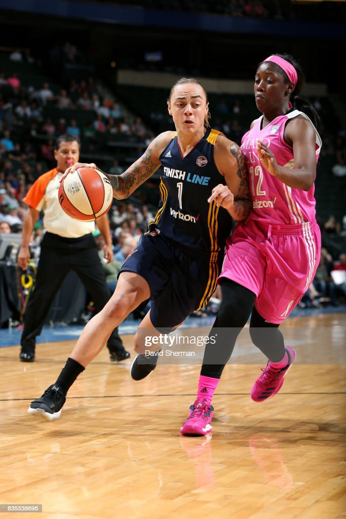 Jazmon Gwathmey #1 of the Indiana Fever handles the ball during the game against the Minnesota Lynx during the WNBA game on August 18, 2017 at Xcel Energy Center in St. Paul, Minnesota.