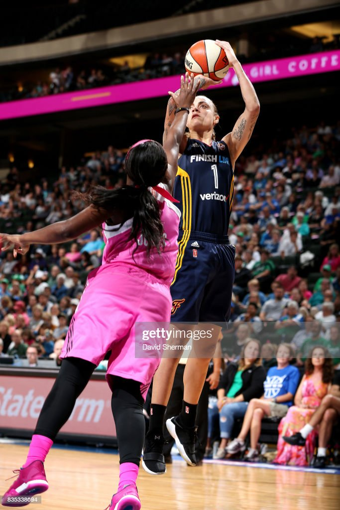 Jazmon Gwathmey #1 of the Indiana Fever shoots the ball during the game against the Minnesota Lynx during the WNBA game on August 18, 2017 at Xcel Energy Center in St. Paul, Minnesota.