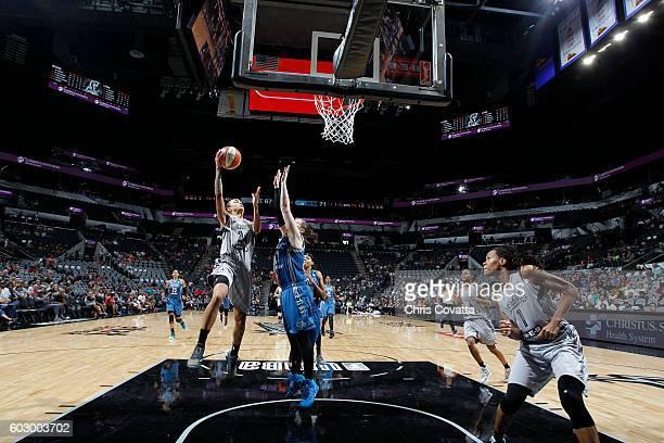 Jazmon Gwathmey of the San Antonio Stars shoots the ball against the Minnesota Lynx on September 11 2016 at ATT Center in San Antonio Texas NOTE TO...