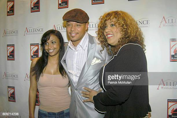 Jazsmin Lewis Terrence Howard and Kim Whitley attend Olympic Artist Jesse Raudales Peace for the Children Art Show at Los Angeles on February 9 2007