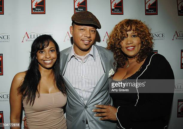 Jazsmin Lewis Terrence Howard and Kym Whitley during Jesse Raudales and Terrence Howard Peace for the Children Art Show at PounderKone Artspace in...