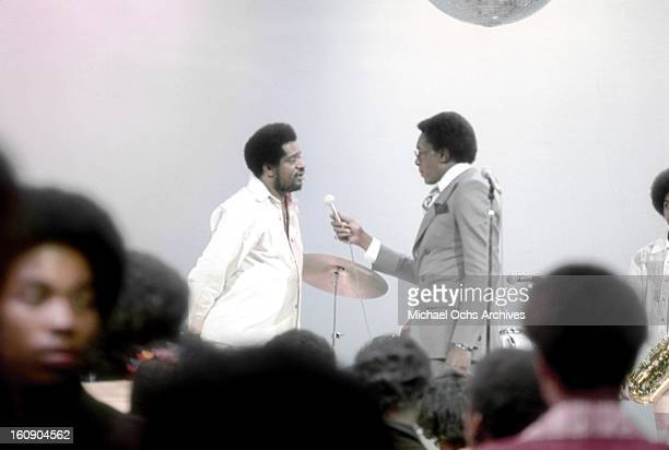 Jazz and funk trumpeter Donald Byrd chats with host Don Cornelius on the TV show 'Soul Train' circa 1977 in Los Angeles California