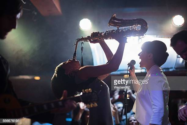 jazz band on stage - jazz stock pictures, royalty-free photos & images