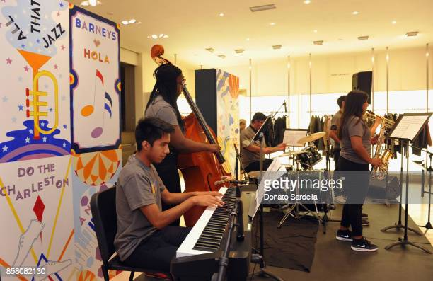 Jazz Band performs at a Cocktail Event in support of HOLA Heart of Los Angeles hosted by Barneys New York at Barneys New York Beverly Hills on...