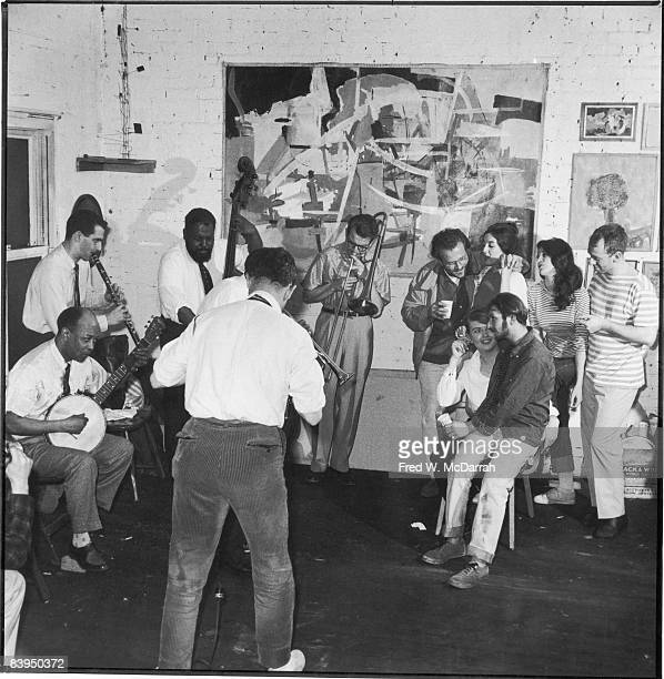 A jazz band plays at a 'Rent a Beatnik' party staged by Holiday magazine New York New York May 24 1959 The band playing in the waterfront loft of...