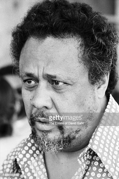 Jazz bassist composer and bandleader Charles Mingus backstage at the Newport Jazz Festival in July 1971 in Newport Rhode Island