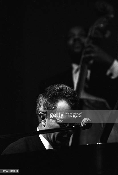 Jazz bassist Eugene Wright performs with pianist Dave Brubeck and the Dave Brubeck Quartet in July 1967 at the Newport Jazz Festival in Newport,...