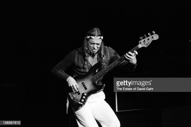 Jazz bassist Jaco Pastorius performs at the Havana Jam Festival as a member of Trio of Doom with John McLaughlin in April 1978 in Havana, Cuba.