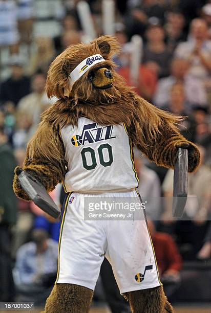 'Jazz Bear' the Utah Jazz mascot performs during the game between the Oklahoma City Thunder and Utah Jazz at EnergySolutions Arena October 30 2013 in...
