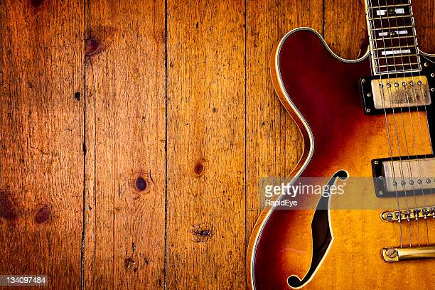 jazz blues guitar on wood - blues music stock pictures, royalty-free photos & images