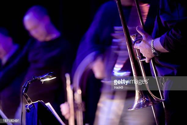 jazz blues musicians live in performance on stage - jazz stock pictures, royalty-free photos & images