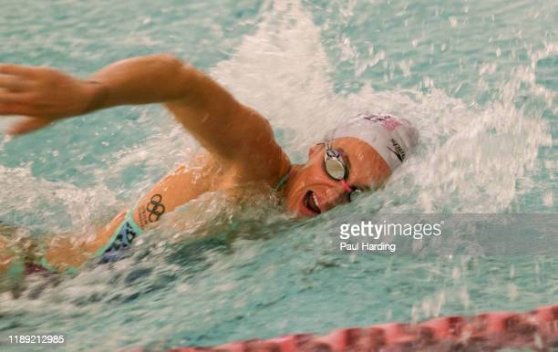 Jazz Carlin 2016 Olympic medalist and Speedo ambassador during the biennial Hope For Youth Charity Swim sponsored by Speedo at London's Porchester...
