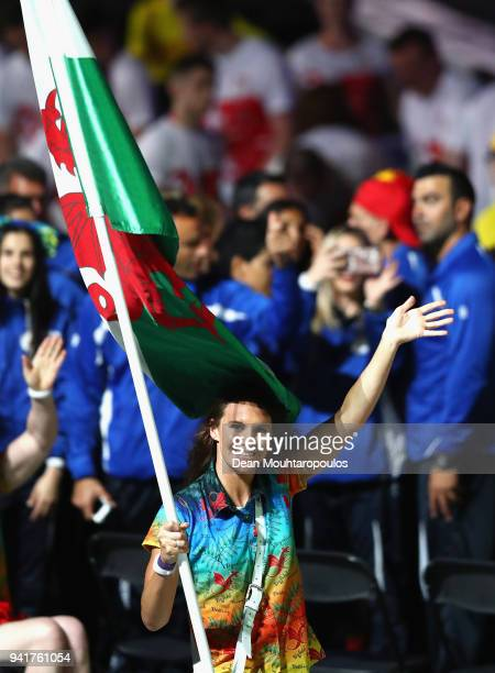 Jazz Carlin flag bearer of Wales arrives with the Wales team during the Opening Ceremony for the Gold Coast 2018 Commonwealth Games at Carrara...