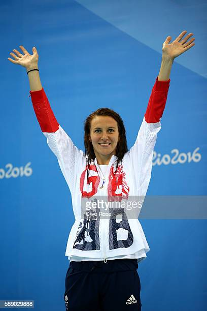 Jazz Carlin of Great Britain celebrates on the podium after winning silver in the Women's 800m Freestyle Final on Day 7 of the Rio 2016 Olympic Games...