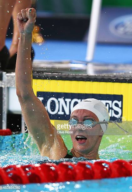 Jazz Carlin of Wales celebrates winning the gold medal in the Women's 800m Freestyle Final at Tollcross International Swimming Centre during day five...
