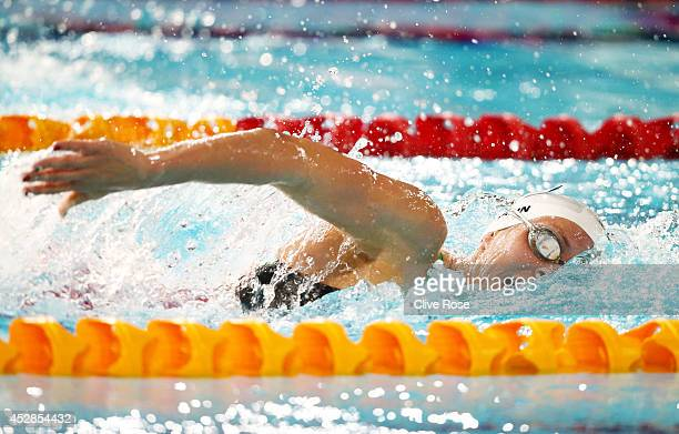 Jazz Carlin of Wales competes on the way to winning the gold medal in the Women's 800m Freestyle Final at Tollcross International Swimming Centre...