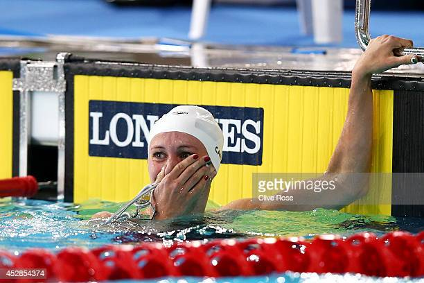 Jazz Carlin of Wales reacts after winning the gold medal in the Women's 800m Freestyle Final at Tollcross International Swimming Centre during day...