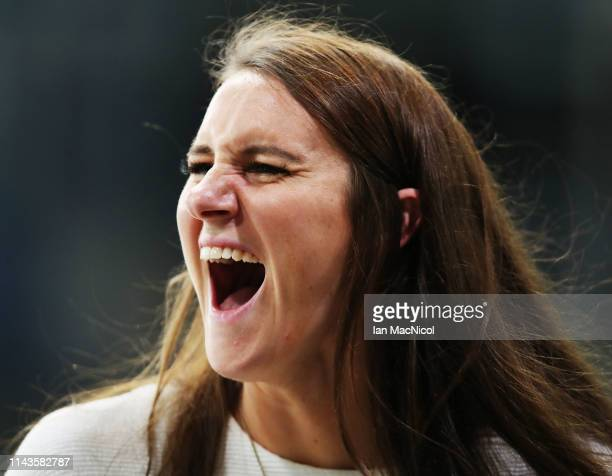 Jazz Carlin reacts during day three of the British Swimming Championships at Tollcross International Swimming Centre on April 18 2019 in Glasgow...