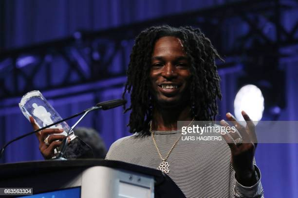 Jazz Cartier wins Rap Recording of the Year during the JUNO Awards gala at the Shaw Centre in Ottawa Canada April 1 2017 / AFP PHOTO / Lars Hagberg