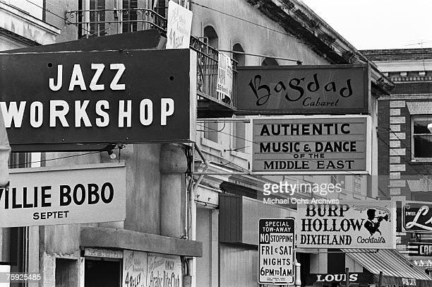 Jazz clubs line the street in early summer 1967 in San Francisco California Note that the Willie Bobo Septet is playing at the Jazz Workshop