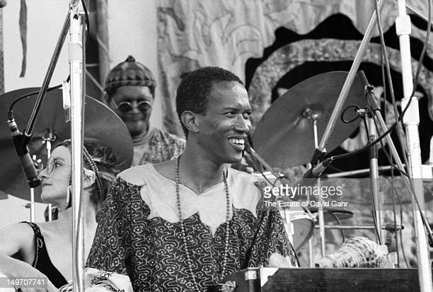 Jazz cornetist and composer Don Cherry performs at the Newport Jazz Festival New York in July 1973 in new York City New York