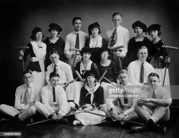 Jazz cornetist Bix Beiderbecke with members of the Davenport High School Croquet team circa 1920 in Davenport Iowa