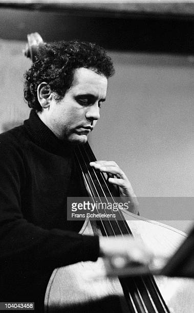 Jazz double bass player Roberto Miranda performs on stage at BIM Huis on April 15 1983 in Amsterdam, Netherlands.