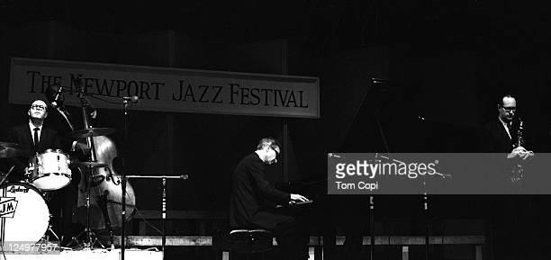 Jazz drummer Joe Morello, bassist Eugene Wright, pianist Dave Brubeck and saxophonist Paul Desmond of the Dave Brubeck Quartet perform in July 1967...