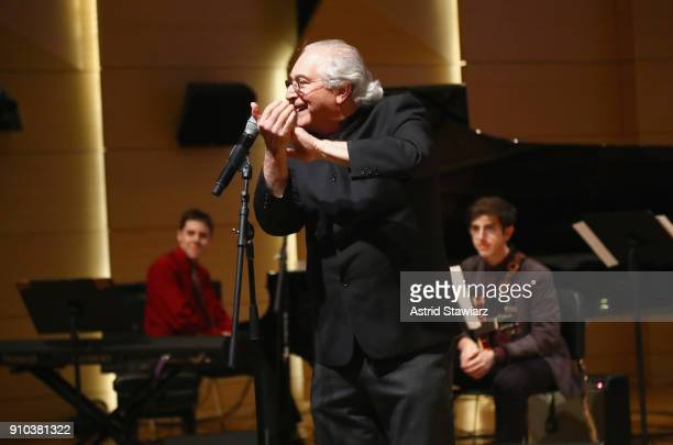 Jazz Education Hall of Fame Inductee Justin DiCioccio and GRAMMY CampJazz Session students perform on stage at the GRAMMY Museum®'s ninth annual...