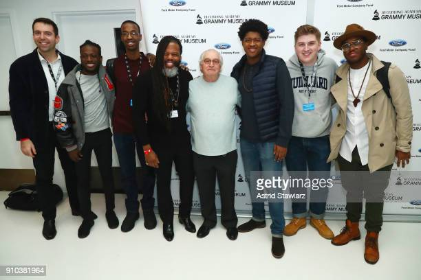 Jazz Education Hall of Fame Inductee Justin DiCioccio and GRAMMY CampJazz Session students pose for a photo together at the GRAMMY Museum®'s ninth...