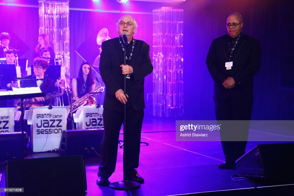 Jazz Education Hall of Fame inductee Justin DiCioccio and GRAMMY Museum® Executive Education Director David R. Sears speak on stage at the 60th Annual GRAMMY Awards Celebration at Marriott Marquis Hotel on January 28, 2018 in New York City.