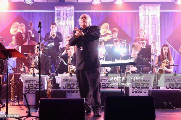 Jazz Education Hall of Fame inductee Justin DiCioccio performs on stage at the 60th Annual GRAMMY Awards Celebration at Marriott Marquis Hotel on...