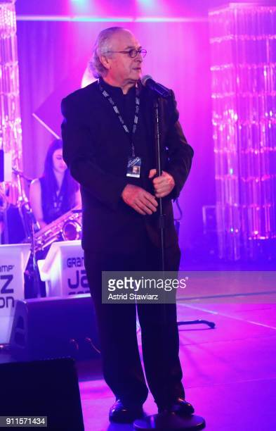 Jazz Education Hall of Fame inductee Justin DiCioccio speaks on stage at the 60th Annual GRAMMY Awards Celebration at Marriott Marquis Hotel on...