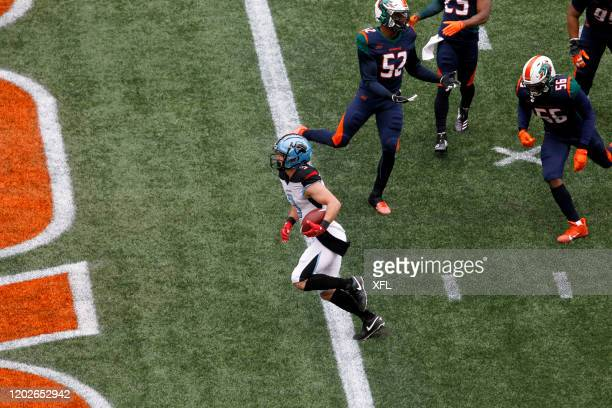 Jazz Ferguson of the Dallas Renegades crosses the endzone to score a touchdown against the Seattle Dragons during the XFL game at CenturyLink Field...