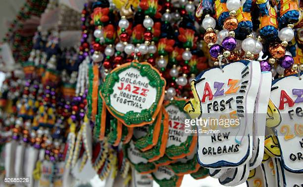 Jazz Fest Mardi Gras beads are seen on sale on the opening day of the New Orleans Jazz and Heritage Festival April 22, 2005 in New Orleans,...