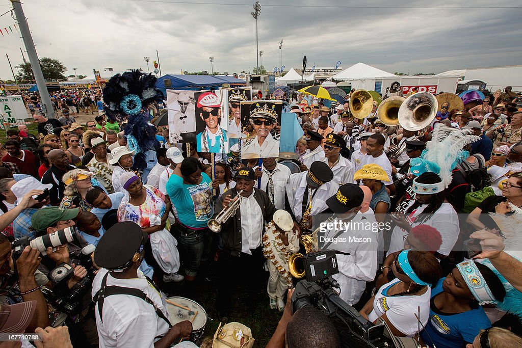 A Jazz Funeral for Uncle Lionel Batiste with the Treme Brass Band and friends during the 2013 New Orleans Jazz & Heritage Music Festival at Fair Grounds Race Course on April 28, 2013 in New Orleans, Louisiana.