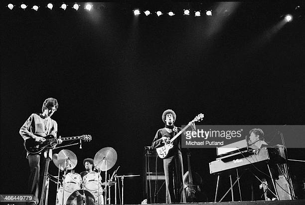 Jazz fusion group Return to Forever performing on stage, March 1974. Left to right: Bill Connors, Lenny White , Stanley Clarke and Chick Corea.