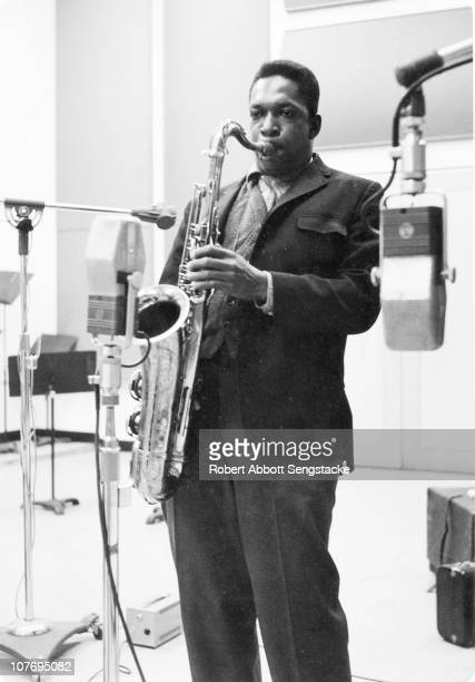 Jazz great John Coltrane playing his tenor saxophone during an Impulse Records recording session in New York early 1960s