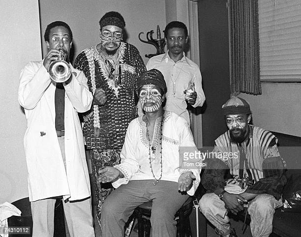 Jazz groupl The Art Ensemble of Chicago pose backstage at the Zellerbach Auditorium in 1979 in Berkeley California
