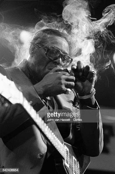 Jazz guitarist Albert King takes a smoke break during his performance at the North Sea Jazz Festival