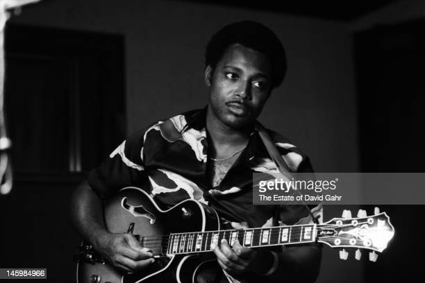 Jazz guitarist and vocalist George Benson poses for a portrait during a recording session for jazz organist Jimmy Smith on June 7 1982 in New York...