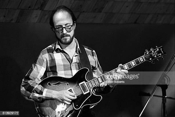 Jazz guitarist John Scofield playing with Jaco Pastorius and Kenwood Dennard at the Drummers Collective in New York City on January 12 1985 He is...