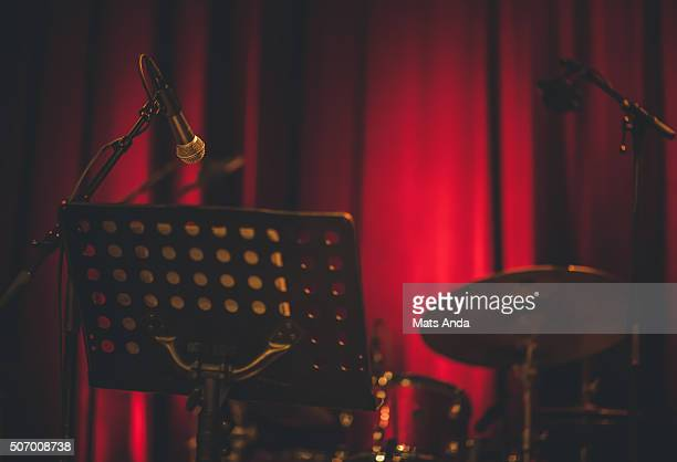jazz instruments on a scene - intermission stock pictures, royalty-free photos & images