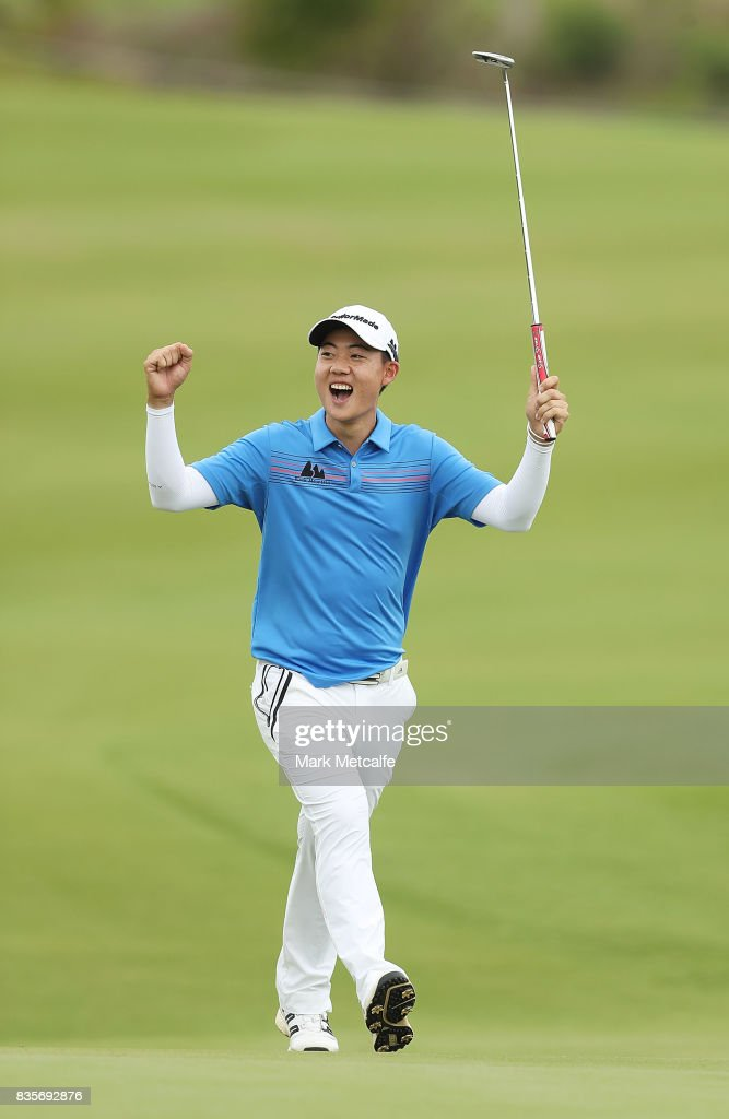 Jazz Janewattananond of Thailand celebrates an eagle putt on the 17th hole during day four of the 2017 Fiji International at Natadola Bay Championship Golf Course on August 20, 2017 in Suva, Fiji.
