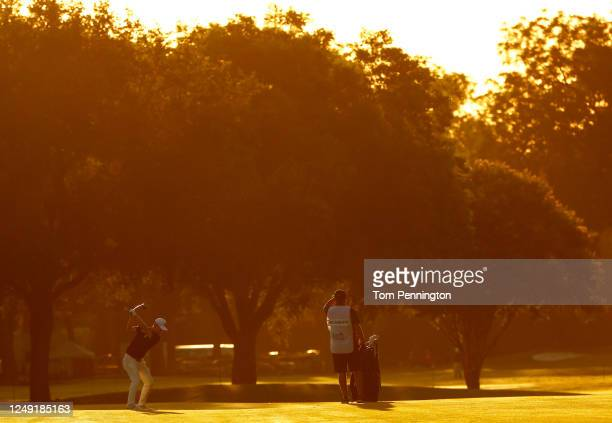 Jazz Janewattananond of Thailand plays a shot on the first hole during the second round of the Charles Schwab Challenge on June 12 2020 at Colonial...