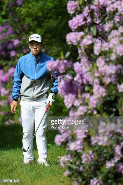Jazz Janewattananond of Thailand prepares to play his second shot on the 10th hole during the second round of the Belgian Knockout at at the Rinkven...