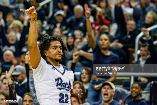 Jazz Johnson of the Nevada Wolf Pack reacts after making a shot during the game between the Nevada Wolf Pack and the Akron Zips at Lawlor Events...