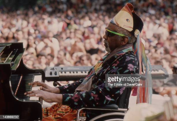 Jazz keyboardist composer and band leader Sun Ra performs on July 4 1992 in Central Park New York City New York